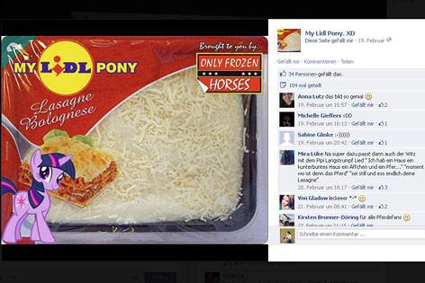 """Tiefkühllasagne mit dem Aufdruck """"My Lidl Pony"""""""