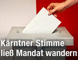 Stimmzettel wird in Urne geworfen