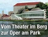 Fotomontage mit Variante des Musiktheaters am Schlossberg