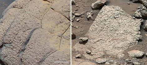 Zwei montierte Bilder zeigen Oberflächen auf dem Mars