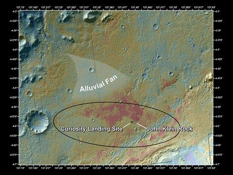 Eine Farbwertkarte zeigt den Bereich der Landung von Marsroboter Curiosity
