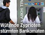 Personen stehen bei einem Bankomaten in Nikosia