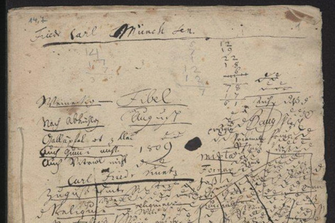 Handschriftliches Blatt zum Roman Das Leben Fibels