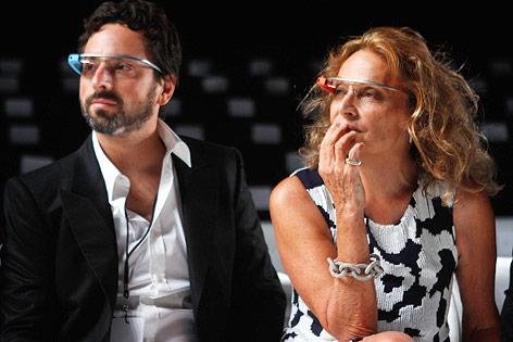 Google-Gründer Sergey Brin und Designer Diane von Furstenberg bei der New York Fashionweek