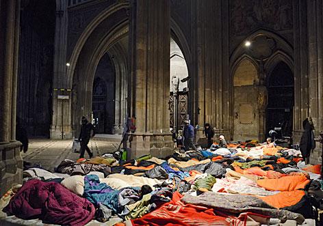 Flüchtlinge in der Votivkirche