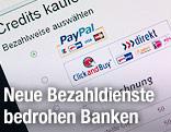 Möglichkeiten der Online-Bezahlung werden auf einer Website angezeigt