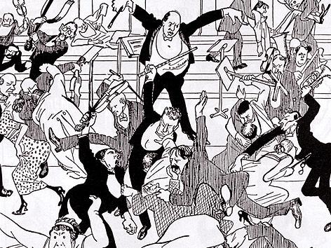 Eine Karikatur zeigt Arnold Schönberg als Dirigenten und Aufruhr unter Musikern und Zuschauern