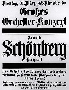 Plakat aus dem Jahr 1913 zu einem Orchesterkonzert im Wiener Musikverein mit Arnold Schönberg als Dirigenten