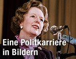 Margaret Thatcher steht im Jahr 1984 an einem Mikrofon