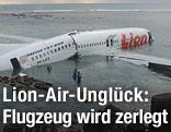 Flugzeug liegt an der Küste im Wasser