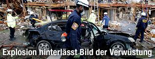 Bild der Zerstörung nach der Explosion in der Düngerfabrik
