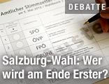 Muster des amtlichen Stimmzettels der Stadt Salzburg für die Landtagswahlen im Bundesland Salzburg