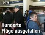 Wartende Flugpassagiere