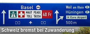 Autobahnschild Richtung Basel