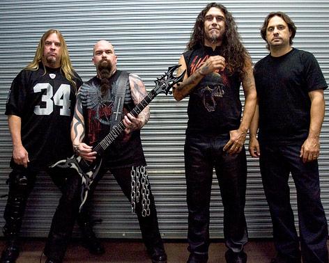 Slayer-Bandmitglieder Jeff Hanneman, Kerry King, Tom Araya und Dave Lombardo