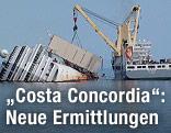 Kranschiff neben der Costa Concordia
