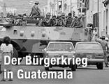 Soldaten auf einem Panzer in Guatemala City, im Jahr 1983