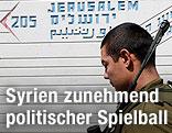 Israelischer Soldat an Grenze zu Syrien