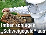 Imker mit Bienenwaben