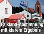 Häuserfront und Falkland-Flagge