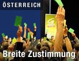 Grüne Delegierte halten Zettel in die Höhe