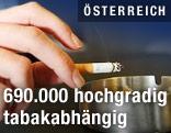 Hand mit Zigarette und Aschenbecher
