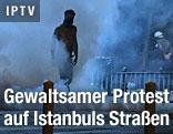 Umrisse eines Demonstranten zwischen Tränengasschwaden