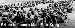 Als Mau-Mau-Rebellen verdächtigte Inhaftierte in einem britischen Lager 1952