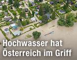 Überschwemmte Häuser in Kritzendorf