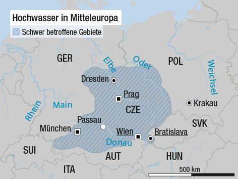 Europa-Karte zeigt die vom Hochwasser betroffenen Gebiete