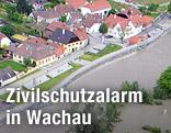 Überflutete Felder nach starken Regenfällen entlang der Donau in Niederösterreich