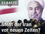 Iranischer Präsidentschaftskandidat Hassan Rouhani auf einem Plakat
