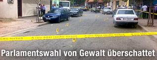Polizeiabsperrung am Tatort