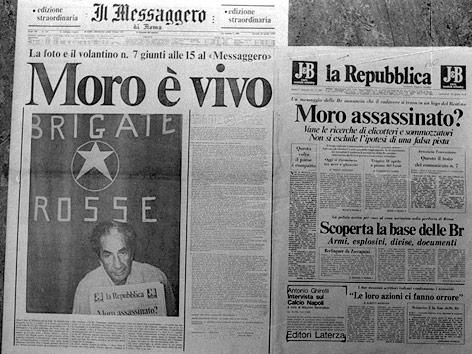 Zeitungen während der Entführung Aldo Moros