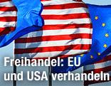 US- und EU-Flaggen