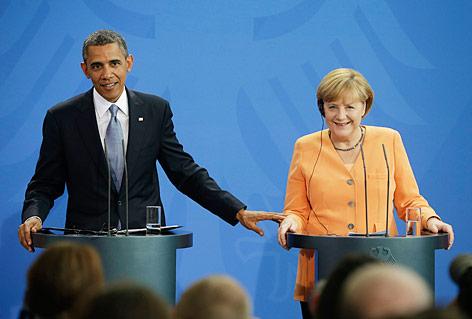 Gemeinsame Pressekonferenz von US-Präsident Barack Obama und der deutschen Kanzlern Angela Merkel