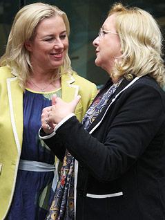 Finanzminister Jutta Urpilainen (Finnland) und Maria Fekter (Österreich)