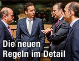 Die Finanzminister Jeroen Dijsselbloem (Niederlande), Luis de Guindos (Spanien), Anders Borg (Schweden), Charis Georgiades (Zypern)