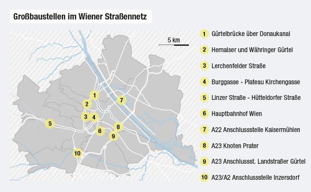 Grafik zeigt die zehn größten Baustellen in Wien