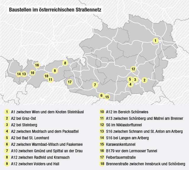 Österreichkarte staugefährdeten Stellen
