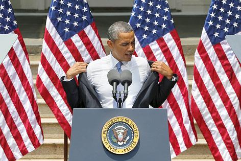 US-Präsident Obama zieht sich sein Sakko aus