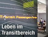 Bereich für Transit Passagiere am Flughafen Moskau