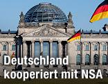 Flaggen vor dem deutschen Bundestag in Berlin