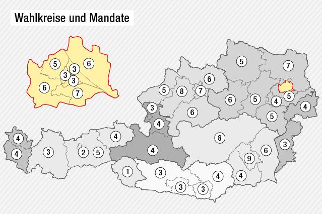 Grafik zeigt Wahlkreise in Österreich