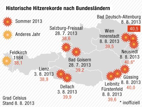 Karte zeigt Hitzerekorde nach Bundesländern in Österreich