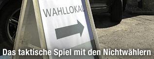 Tafel zeigt Richtung Wahllokal