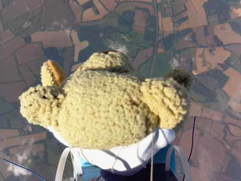 Stratosspärensprung eines Teddybären