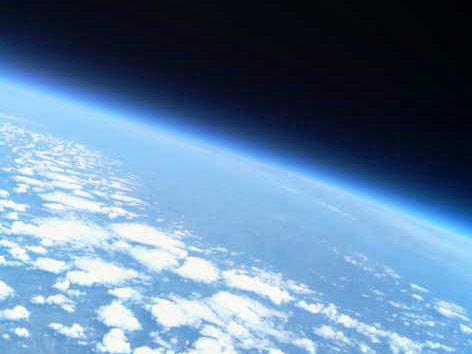 Blick aus der Stratosspähre auf die Erde