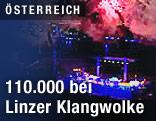 Feuerwerk der Linzer Klangwolke am Donauufer