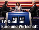 Michael Spindelegger (ÖVP) und Frank Stronach (Team Stronach) im ORF-TV-Duell